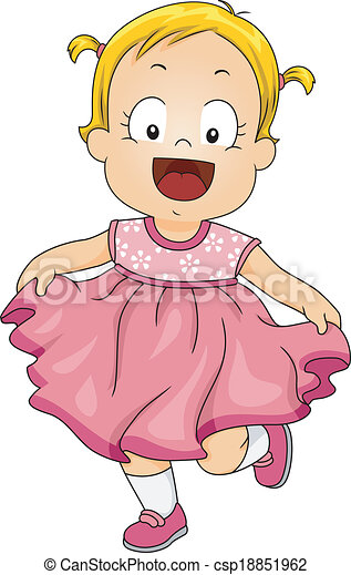 Baby Girl Pink Dress Illustration Of A Smiling Little