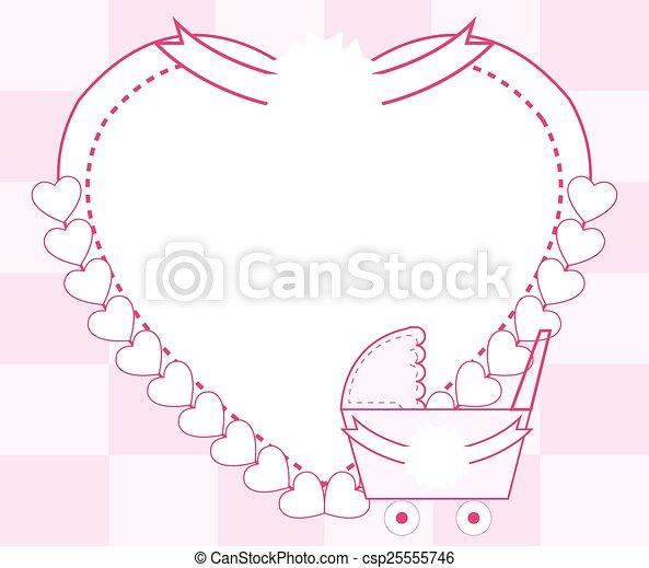 Baby girl pink frame vector illustration.