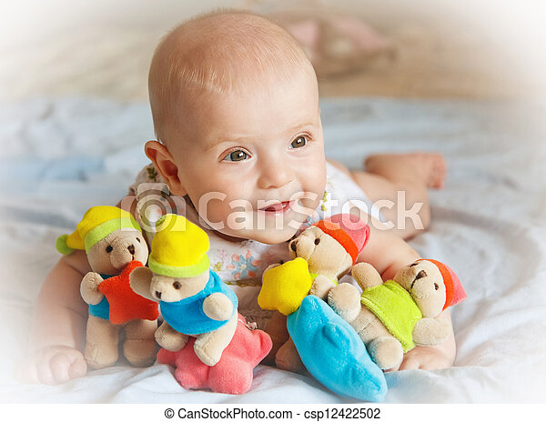 baby girl playing with toys - csp12422502