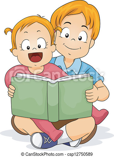 Baby Girl Reading a Book with Brother - csp12750589