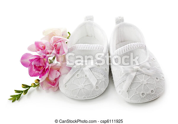 Baby girl shoes with pink flowers isolated on white background baby girl shoes with pink flowers csp6111925 mightylinksfo