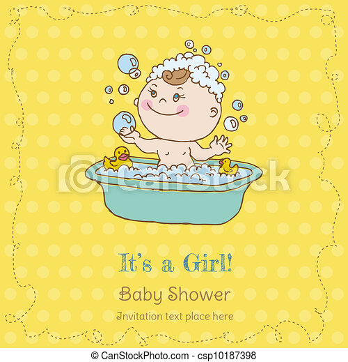 Baby Girl Shower and Arrival Card - with place for your text in vector - csp10187398