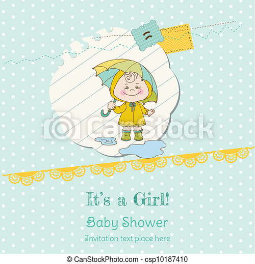 Baby Girl Shower and Arrival Card - with place for your text in vector - csp10187410