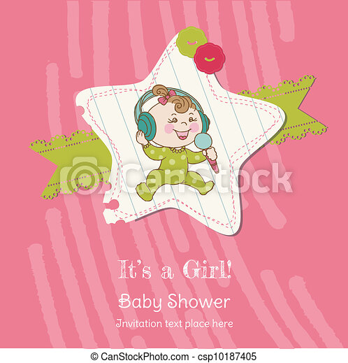 Baby Girl Shower and Arrival Card - with place for your text in vector - csp10187405