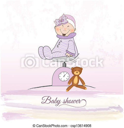 baby girl shower announcement - csp13614908