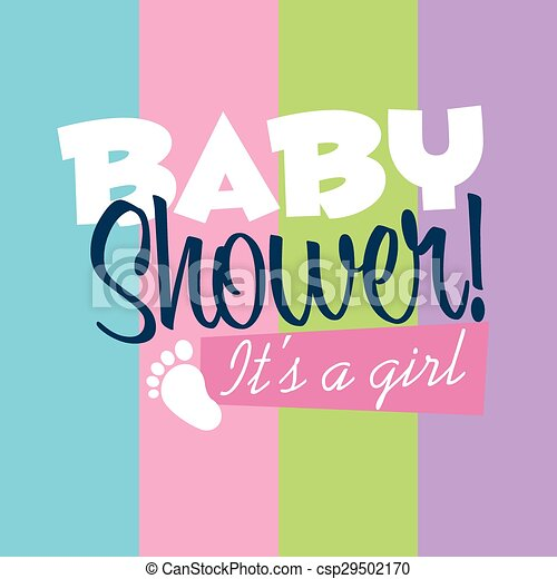 Baby Girl Shower Greeting Card Baby Girl Shower Greeting Card With