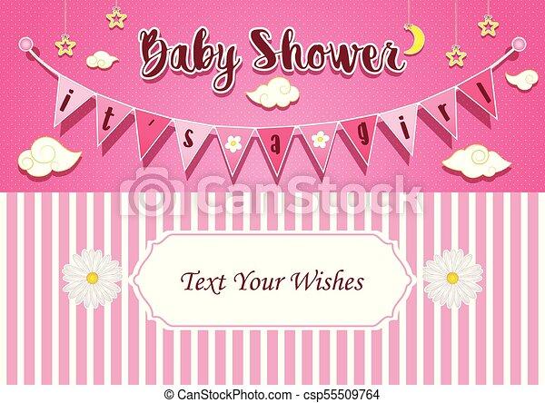 Baby Girl Shower Invitation Card Design Template