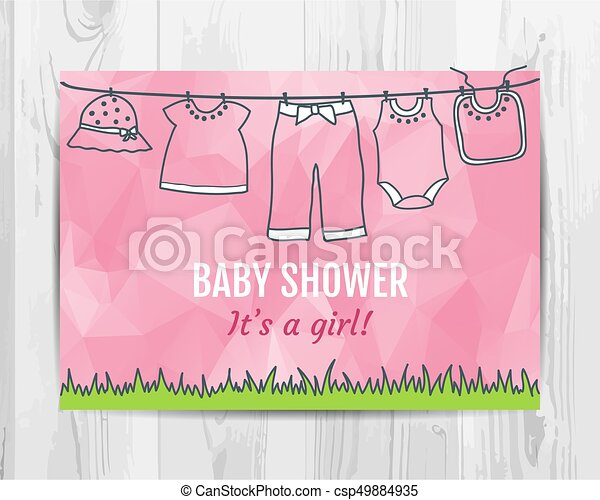 Baby girl shower invitation card. baby party flyer. vector ...