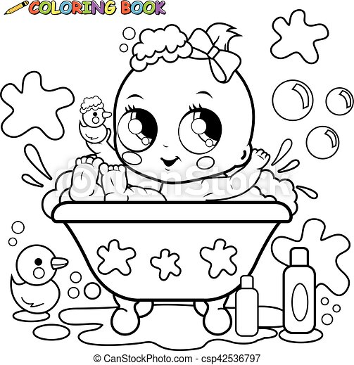 Baby girl taking a bath coloring page. Vector illustration of a cute ...