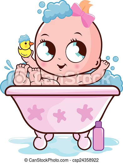 baby girl taking a bath illustration of a cute baby girl in a tub rh canstockphoto com woman in bubble bath clipart bubble bath clipart black and white