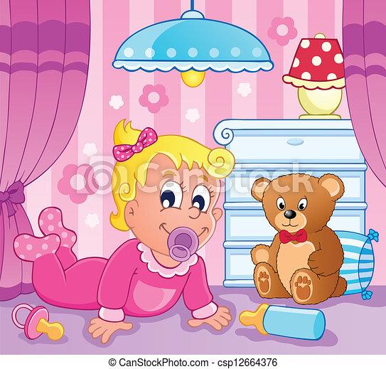 Baby girl theme image 2 - csp12664376