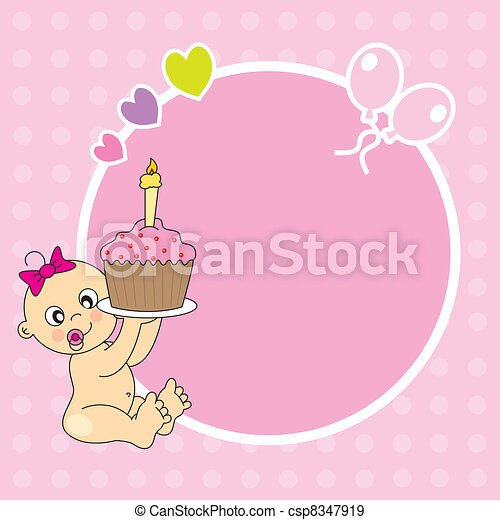 baby girl with a birthday cake - csp8347919