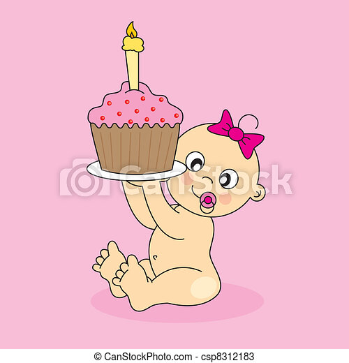 baby girl with a birthday cake - csp8312183
