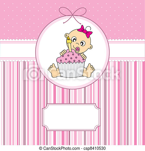 baby girl with a cake - csp8410530