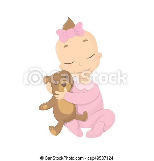 Baby girl with bear. - csp49537124