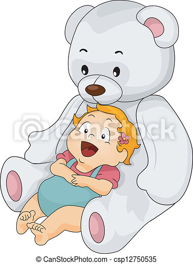 Baby Girl with Big Toy Bear - csp12750535