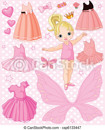 Baby Girl with different dresses - csp6133447