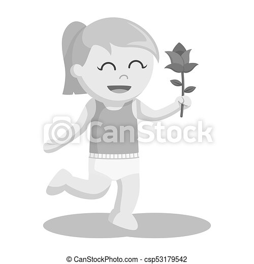 Baby girl with rose flower - csp53179542