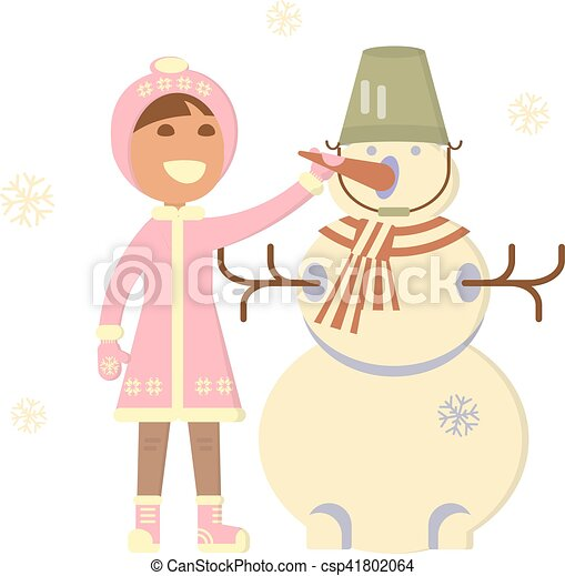 Baby girl with snowman - csp41802064