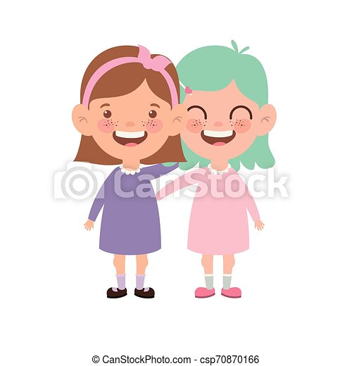 baby girls standing smiling on white background - csp70870166