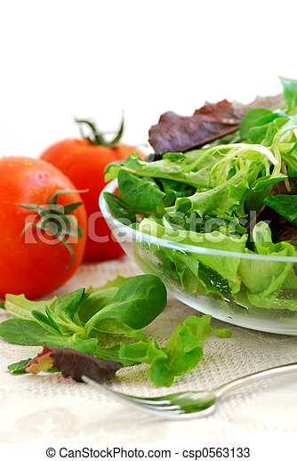 Baby greens and tomatoes - csp0563133