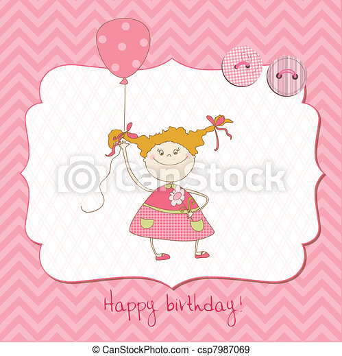 Baby Greeting Card with Photo Frame and place for your text in vector - csp7987069