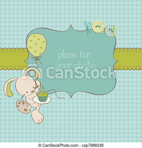 Baby Greeting Card with Photo Frame and place for your text in vector - csp7986038
