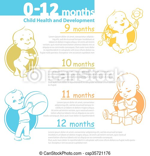 Baby growing up infographic.  - csp35721176