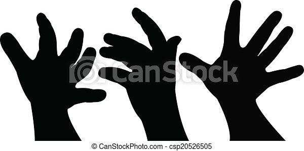 baby hand silhouette vector  - csp20526505
