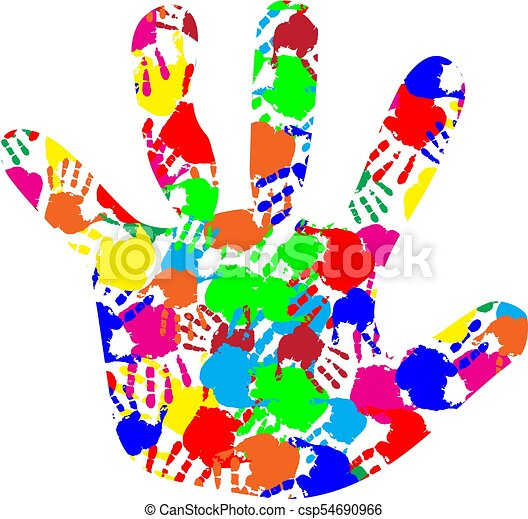 rainbow multicolored silhouette of baby hand with colorful clip rh canstockphoto ca colorful clip art background colorful clip art lettering