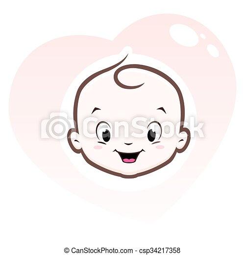 Baby Herz Rahmen Karikatur Herz Hat Gestaltet Rahmen Gesicht