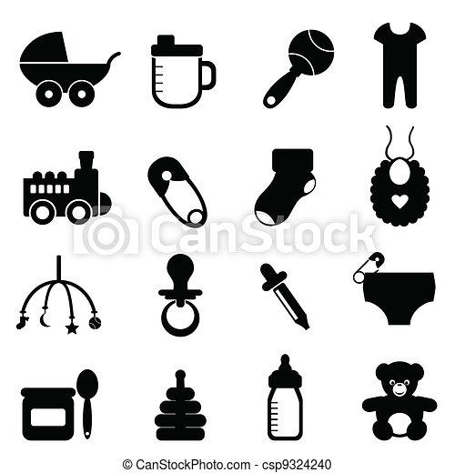 Baby icon set in black - csp9324240
