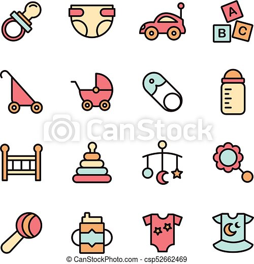Baby Icons Minimalistic Flat Line Icon Baby Symbol Set Clip Art