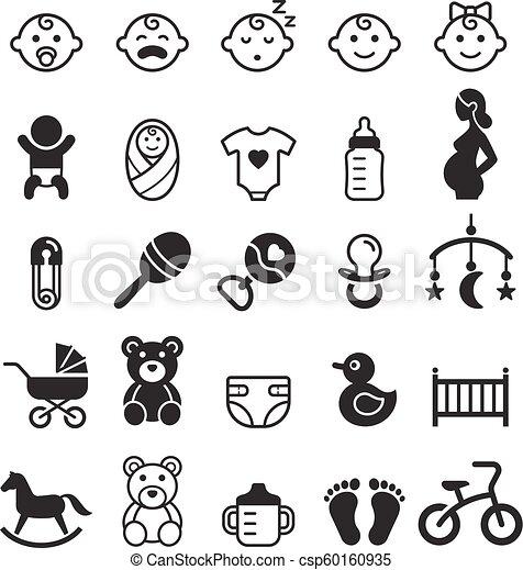 Baby icons set. Vector illustration. - csp60160935