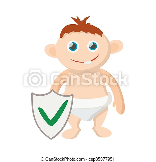 Baby Ikone Stil Versicherung Karikatur Stil Karikatur