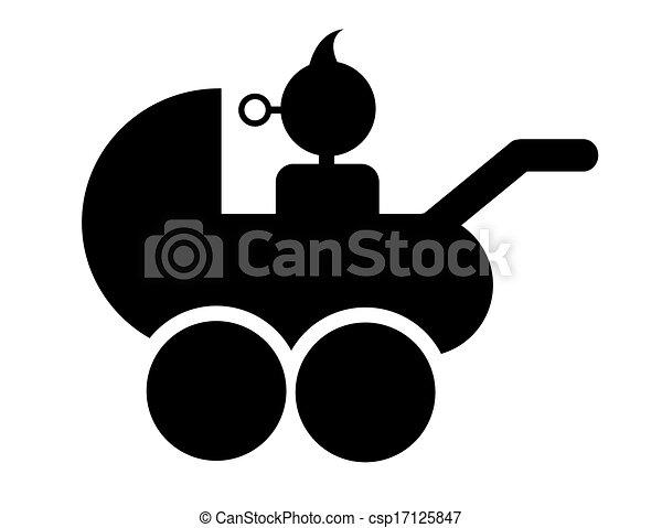 baby in a stroller symbol vector - csp17125847