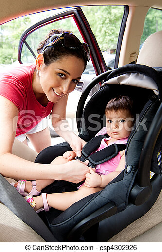 Baby in car seat for safety - csp4302926