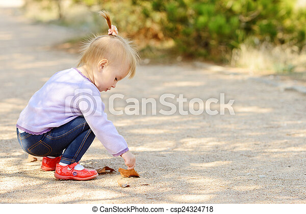 baby in fall  - csp24324718