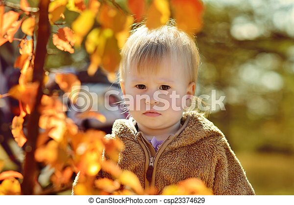 baby in fall - csp23374629