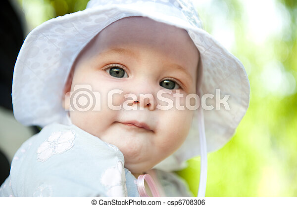 Baby in Panama hat - csp6708306
