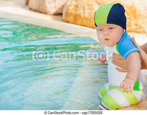 Baby in pool - csp17055025