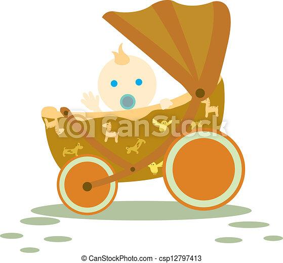baby in stroller - csp12797413