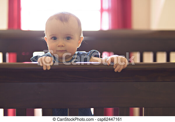 baby in the crib at home bedroom - csp62447161