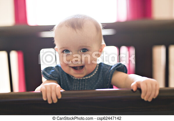 baby in the crib at home bedroom - csp62447142