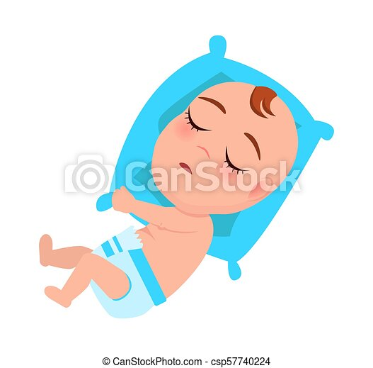Fantastic Baby Infant In Diaper Sleeps On Blue Pillow Vector Unemploymentrelief Wooden Chair Designs For Living Room Unemploymentrelieforg