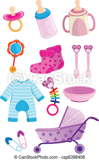 a vector illustration of a set of baby items vector search clip rh canstockphoto com baby items clipart black and white baby boy items clipart