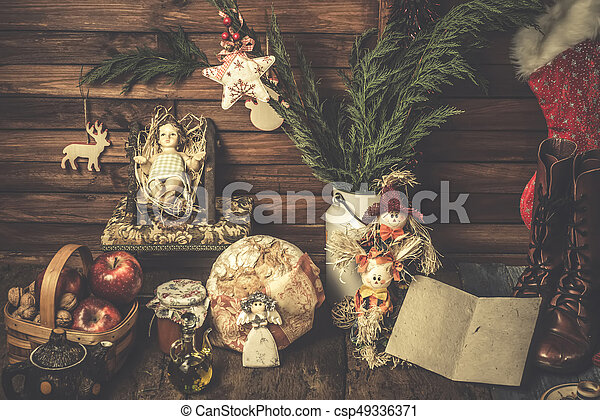 Christmas cards, Baby Jesus at home with food offerings and Christmas decorations, rustic style.