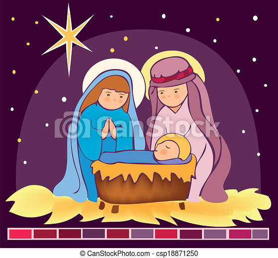 Baby Jesus In A Manger 3 Is A Eps 10 Illustrator File