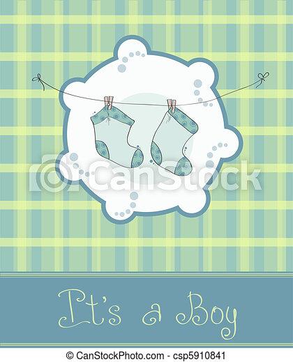 baby jongen, aankomst, kaart, aankondiging - csp5910841