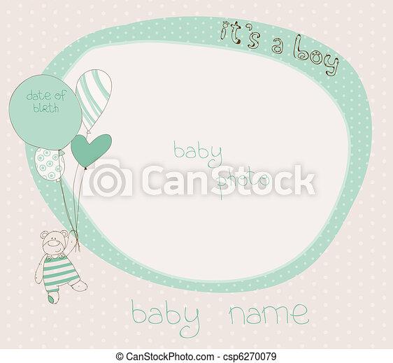 baby, kaart, jongen, aankomst, frame, foto - csp6270079